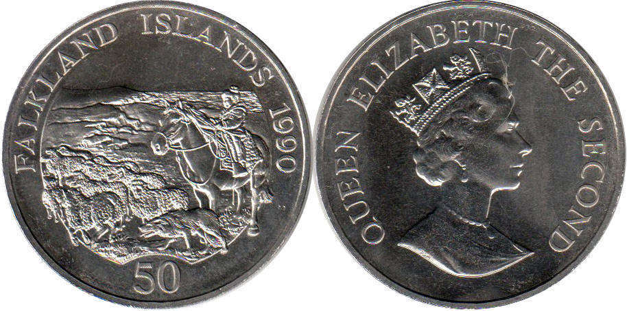 Фолкленды 50 пенсов - Falkland Islands 50 pence 1990