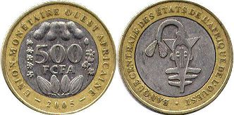 West African States 500 francs 2005