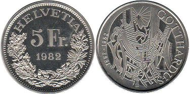Швейцария 5 франков - Switzerland  5 franc 1982 Gotthardus