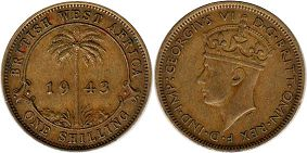 ONE SHILLING BRITHSH WEST AFRICA GEORGIVS VI