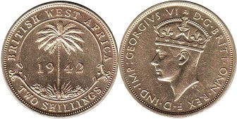 TWO SHILLINGS 1942 BRITHSH WEST AFRICA GEORGIVS VI