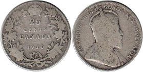 Канада 25 центов - Canada 25 cents 1910
