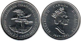 Канада 25 центов - Canada 25 cents 1992 North West Territories