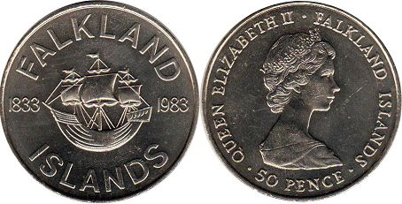 Falkland Islands 50 pence 1983 150th Anniversary