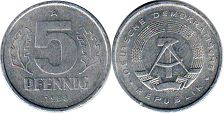 Germany Democratic 5 pfennig 1988