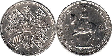 Великобритания 5 шиллингов - Great Britain 5 shilling 1953