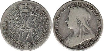 монета Великобритания 1 флорин - Great Britain one florin 1895