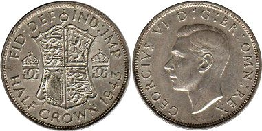 Великобритания 1/2 кроны - мGreat Britain half crown 1943