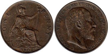 монета Великобритания 1 пенни - Great Britain one penny 1902