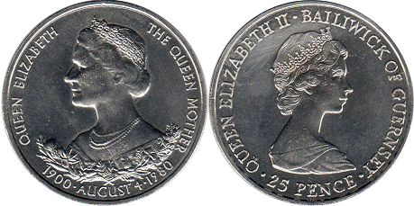 Guernsey 25 pence 1980 Queen Mother