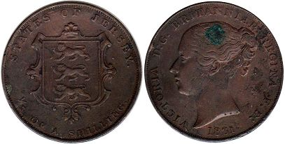 Jersey 1/13 of shilling 1861