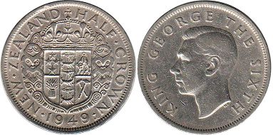 New Zealand 1/2 crown 1949