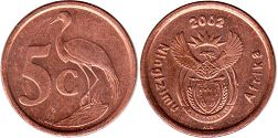 ЮАР 5 центов - South Africa 5 cents 2002