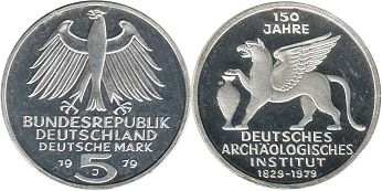 Германия ФРГ 5 марок - Germany BRD 5 mark 1979 Archeological Institute