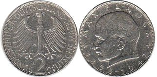 Германия ФРГ 2 марки - Germany BRD 2 mark 1958