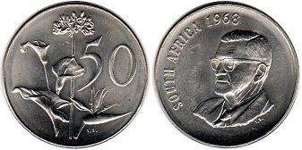 ЮАР 50 центов - South Africa 50 cents 1968