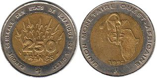 West African States 250 francs 1992