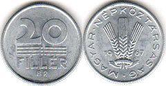 монета Венгрия 20 филлеров 1967