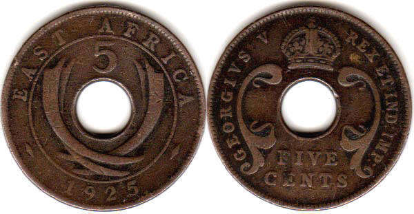 Британская Восточная Африка 5 центов - BRITISH EAST AFRICA 5 cents GEORGIVS V