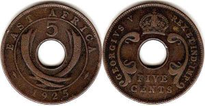 BRITISH EAST AFRICA 5 cents GEORGIVS V