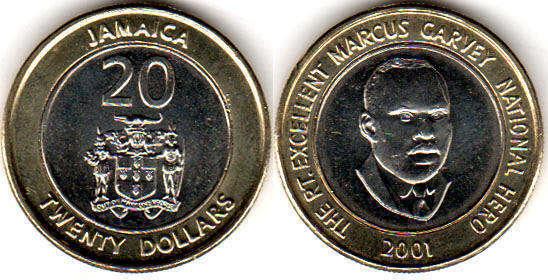 Jamaica 20 Dollars 2001