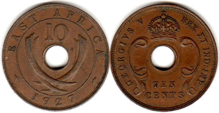 Британская Восточная Африка 10 центов - BRITISH EAST AFRICA 10 cents GEORGIVS V