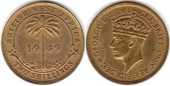 TWO SHILLINGS BRITHSH WEST AFRICA GEORGIVS VI