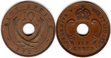 BRITISH EAST AFRICA 10 cents GEORGIVS V