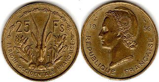 French West Africa 25 francs 1956