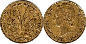French West Africa 10 francs 1956