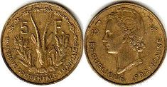French West Africa 5 francs 1956