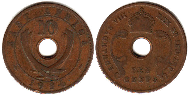 Британская Восточная Африка 10 центов - BRITISH EAST AFRICA 10 cents EDWARDVS VIII