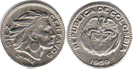 Diez Centavos 10 Centavos 1959 Cu-ni Diez