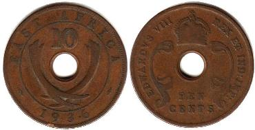 BRITISH EAST AFRICA 10 cents EDWARDVS VIII