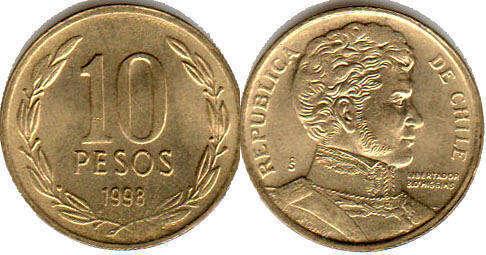 Resultado de imagen para moneda 10 pesos chile