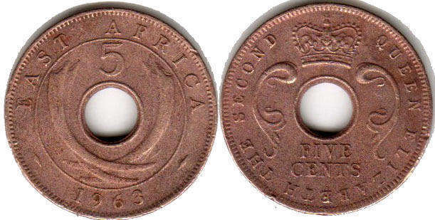 Британская Восточная Африка 5 центов - BRITISH EAST AFRICA 5 cents ELIZABETH