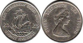 Eastern Caribbean States 25 cents 1989