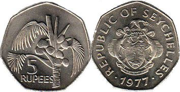 Seychelles 5 rupees 1977