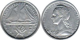 Сен-Пьер и Микелон 1 франк - Saint Pierre and Miquelon 1 franc 1948