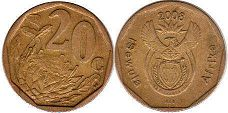 ЮАР 20 центов - South Africa 20 cents 2008