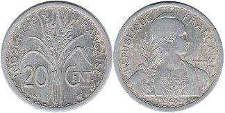 French Indochina 20 cents 1945