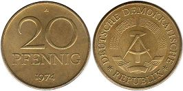 Germany DDR 20 pfennig 1974