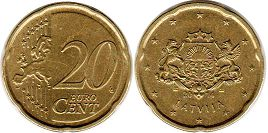 монета Латвия 20 центов - Latvia 20 cents 2014