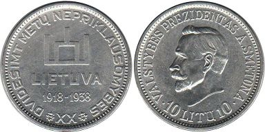 Lithuania 10 litu 1938