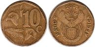 ЮАР 10 центов - South Africa 10 cents 2001
