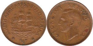 South Africa 1/2 penny 1950