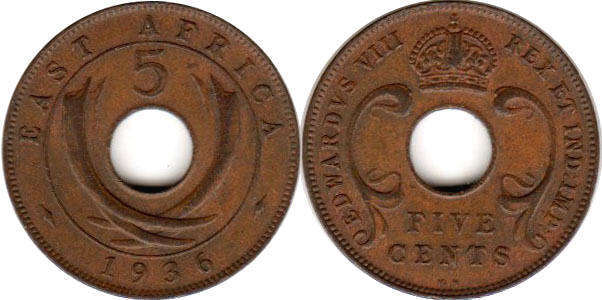 Британская Восточная Африка 5 центов - BRITISH EAST AFRICA 5 cents EDWARDVS VIII