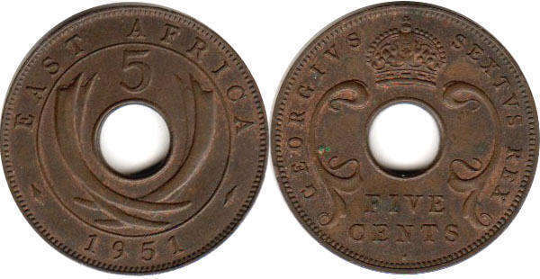Британская Восточная Африка 5 центов - BRITISH EAST AFRICA 5 cents GEORGIVS VI