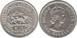 BRITISH EAST AFRICA 50 cents ELIZABETH