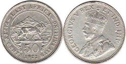 BRITISH EAST AFRICA 50 cents GEORGIVS V